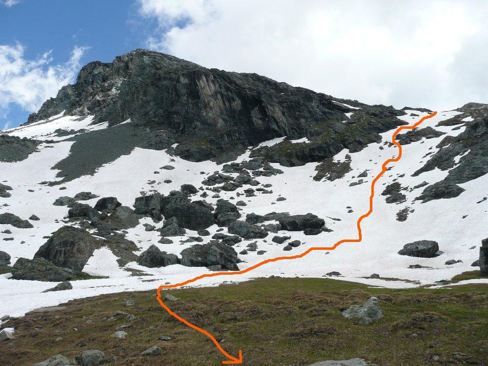 Corno Rosso e percorso di discesa sul sentiero n.4 verso le piste