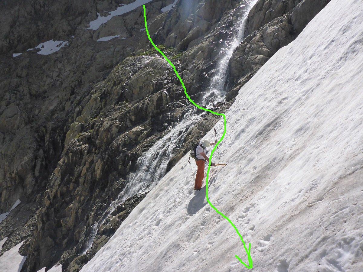 Il ritorno dalla cascata e nevaio, in salita siamo passati sulle roccette a sinistra