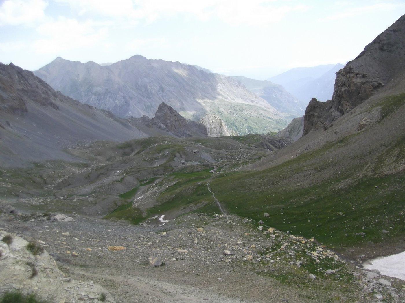 il vallone di discesa dal Colle Sautron.