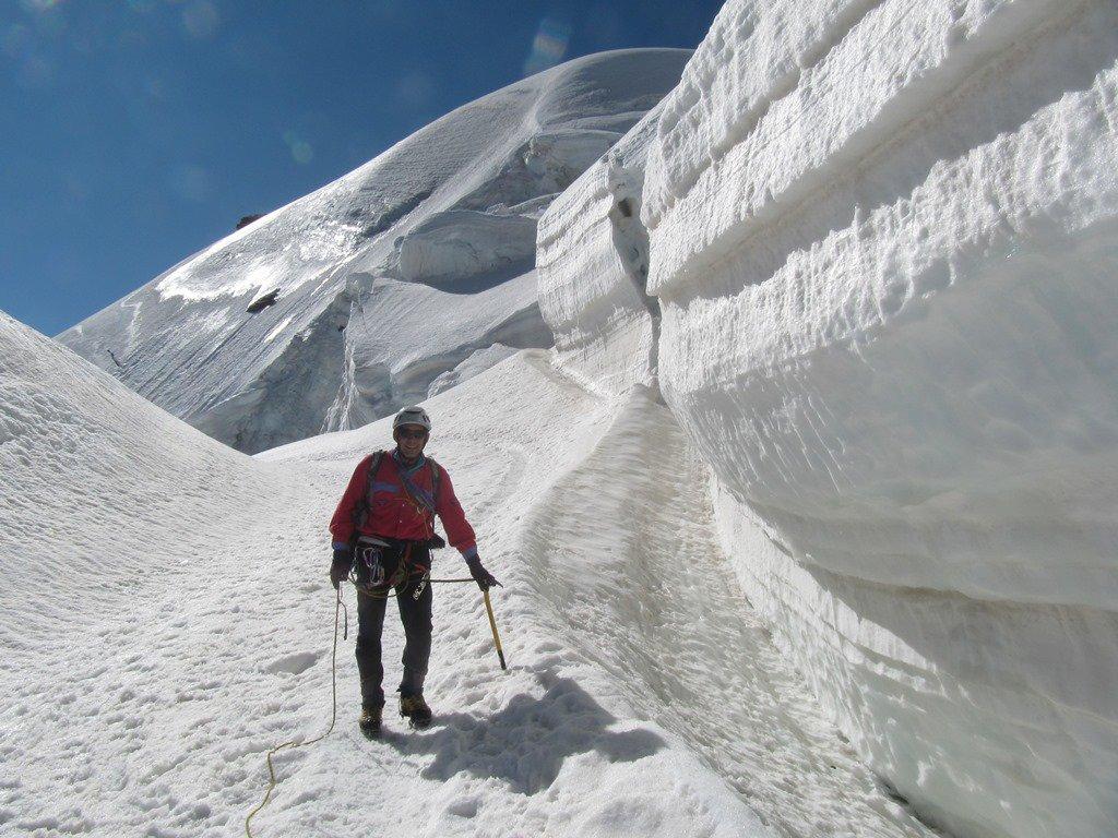 attraversando il ghiacciaio che porta a Diavolezza....
