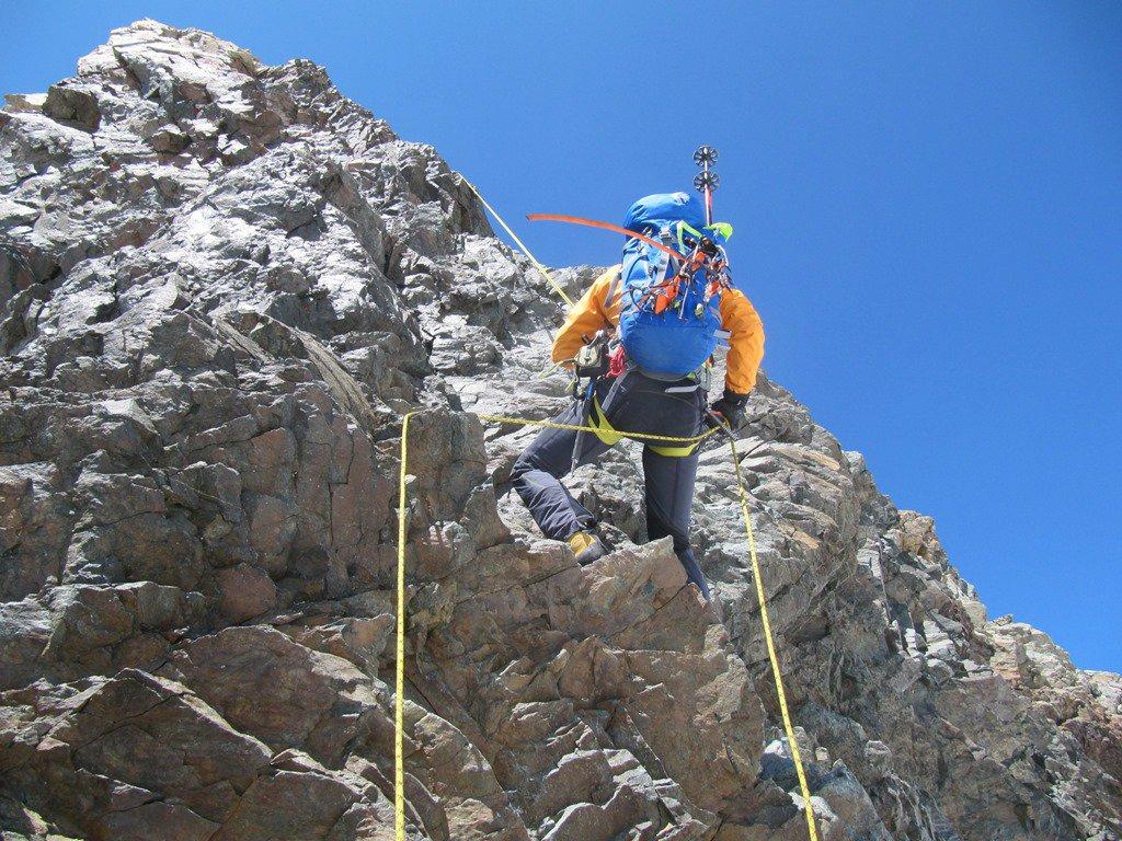 la doppia da 30 m scendendo dal Bernina verso il Marco e Rosa