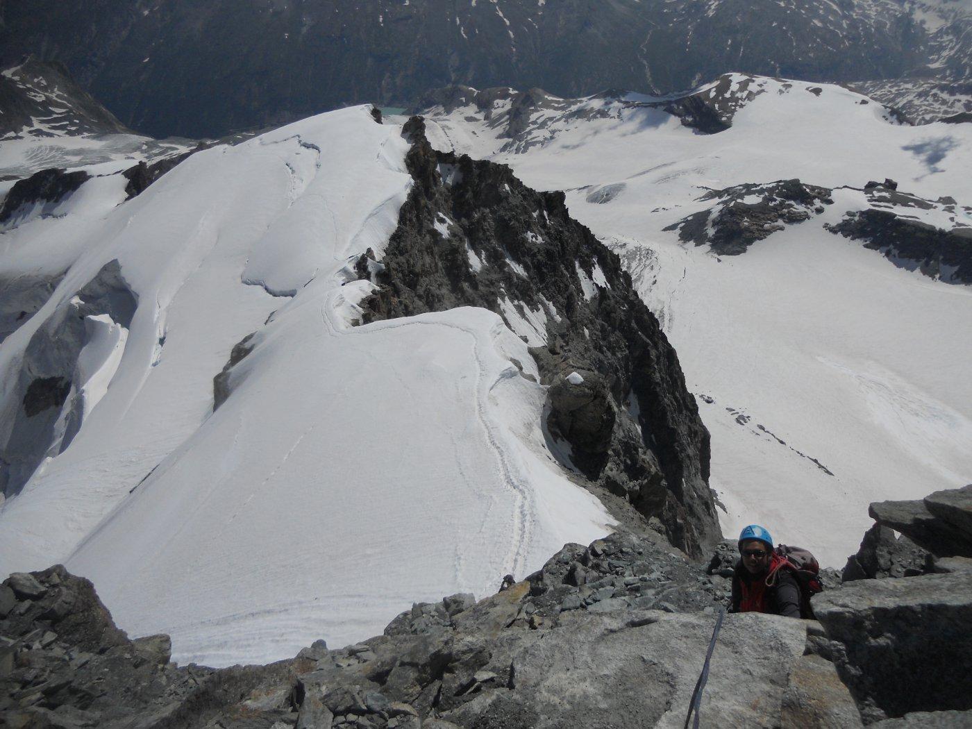 salto roccioso e linea di salita