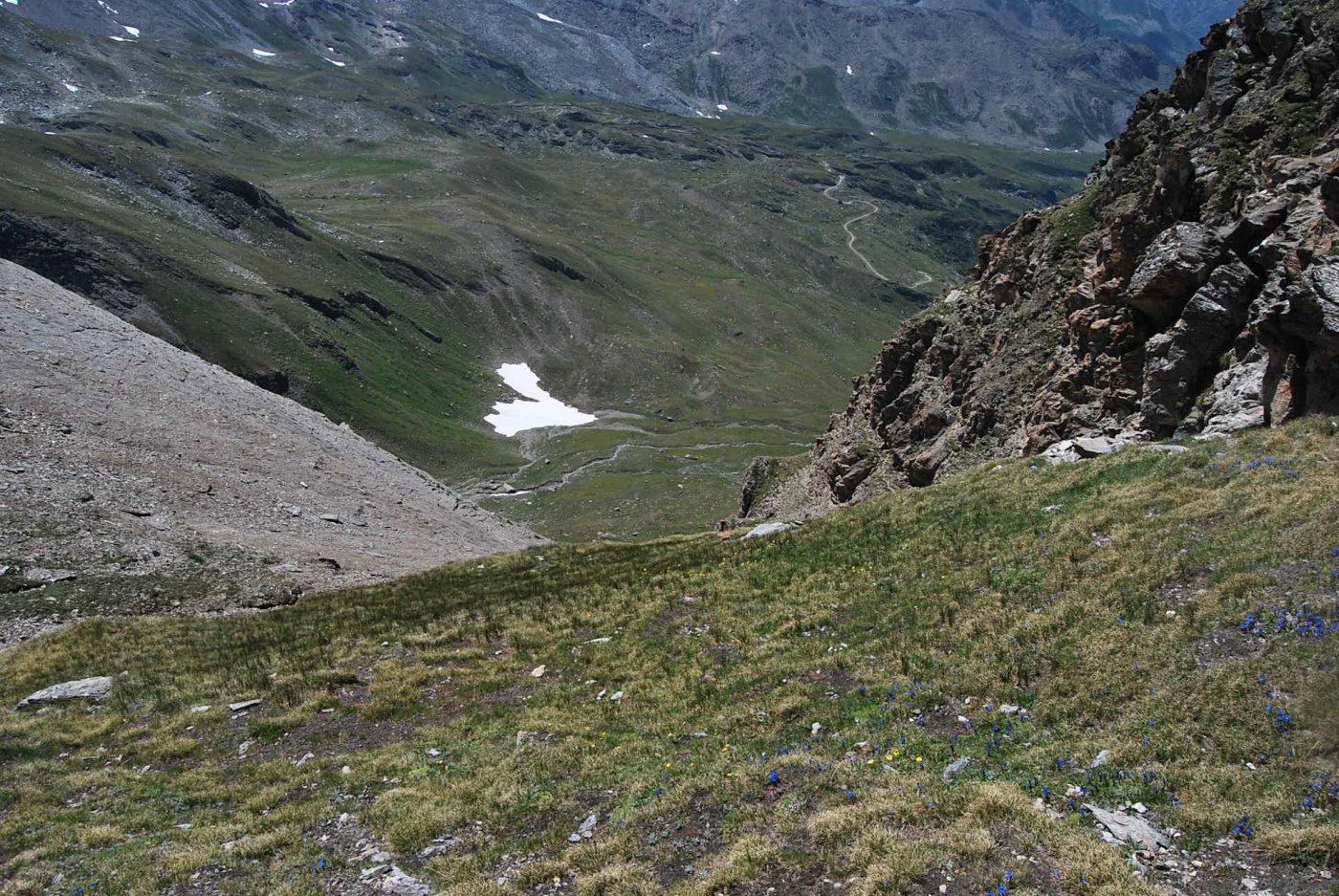 Il canalone di discesa sul vallone di Plontaz