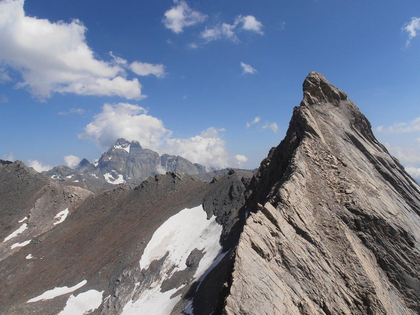 In primo piano il Pic d'Asti e dietro il Monviso, visti dal settimo tiro