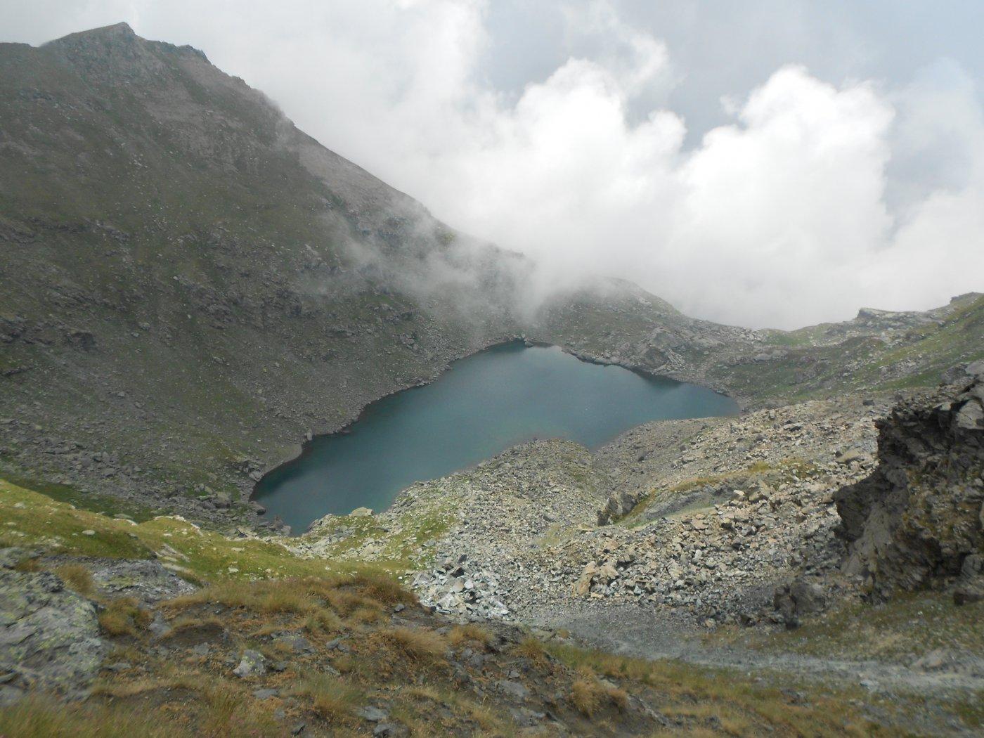Lago del Ciardonnet dall'attacco della cresta