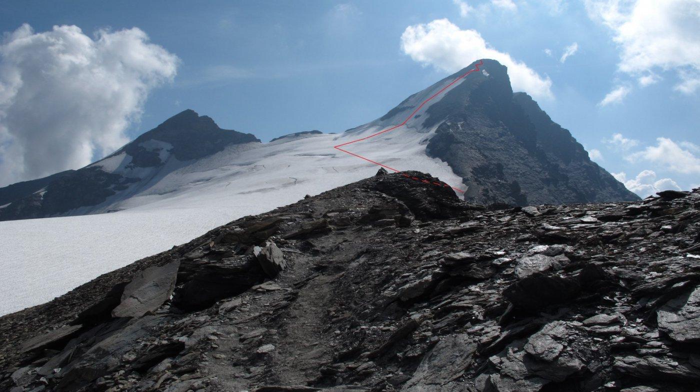 Il percorso seguito sul ghiacciaio e sulla pala finale