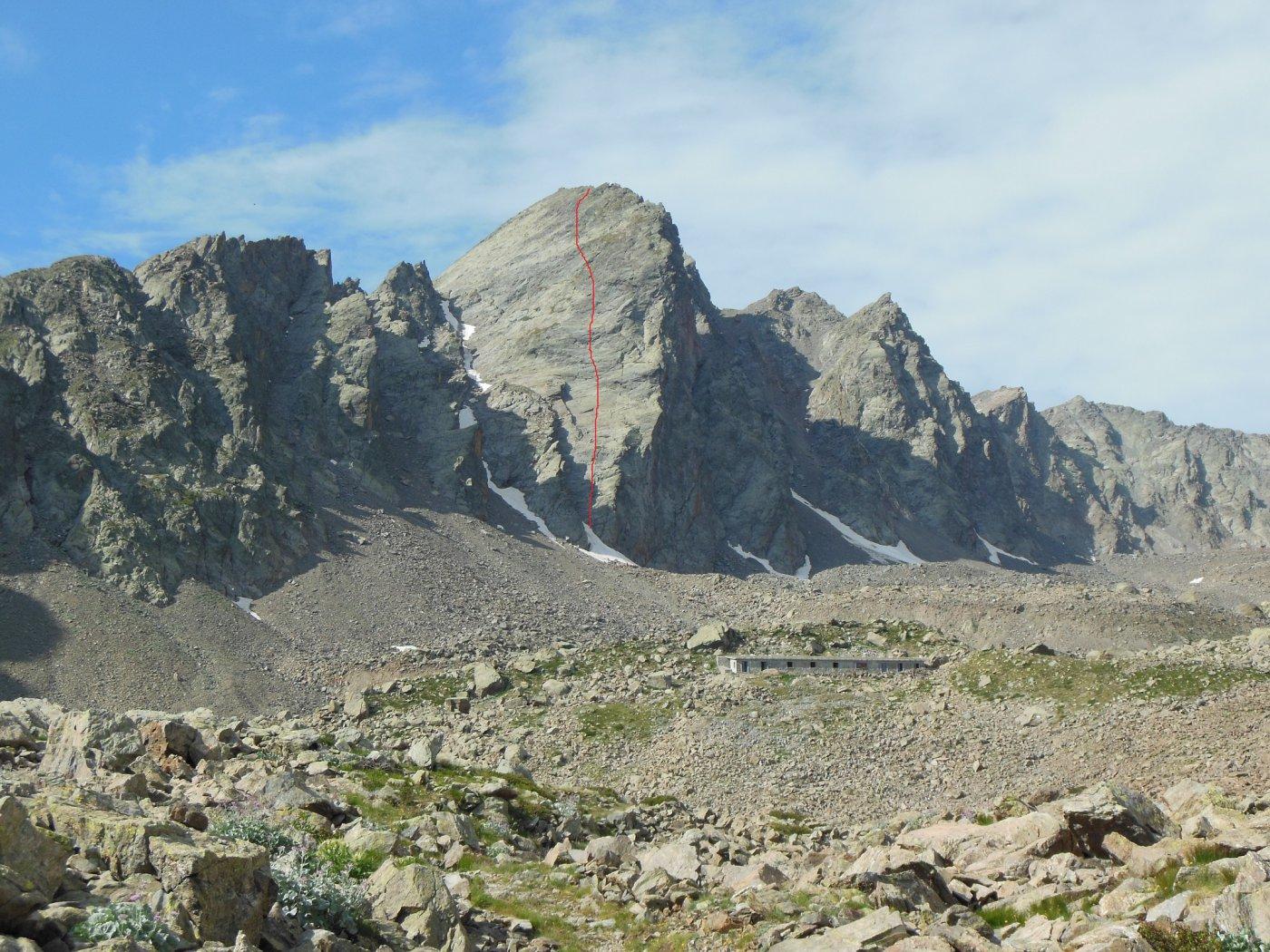 Anticima di Rocca Rossa con il tracciato indicativo di SuperRouge