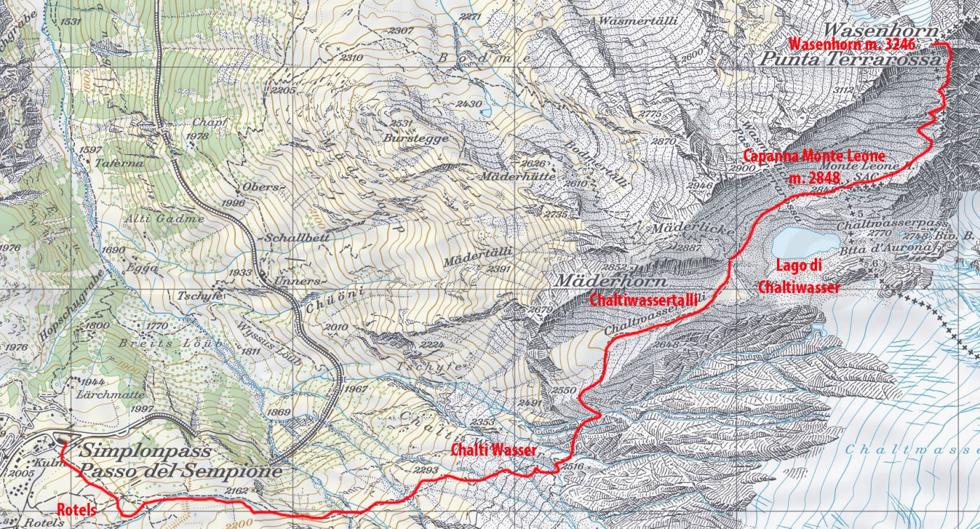 stralcio di mappa CNS e itinerario di salita per la cima