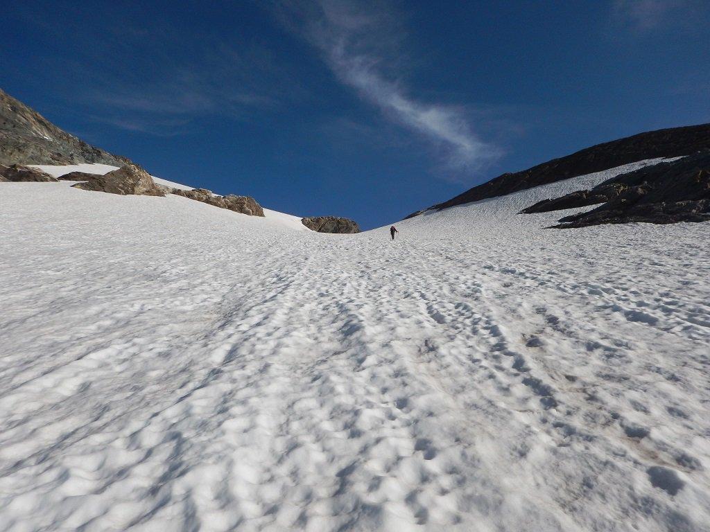 In salita sul ghiacciaio del Collerin