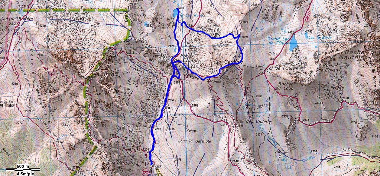 itinerario della gita con la gardiole e il lac de cristol