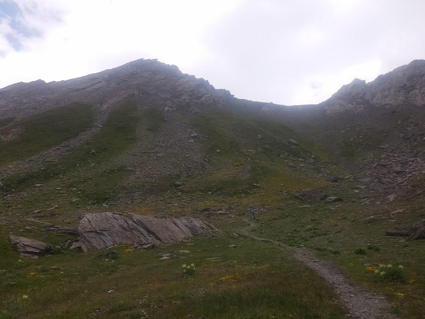 Rocce sommitali della Gran Guglia e colletto a dx, dal Lago Verde