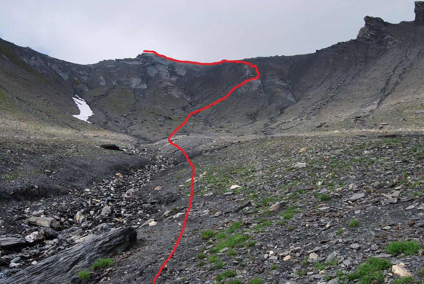 La vetta ed il percorso di salita