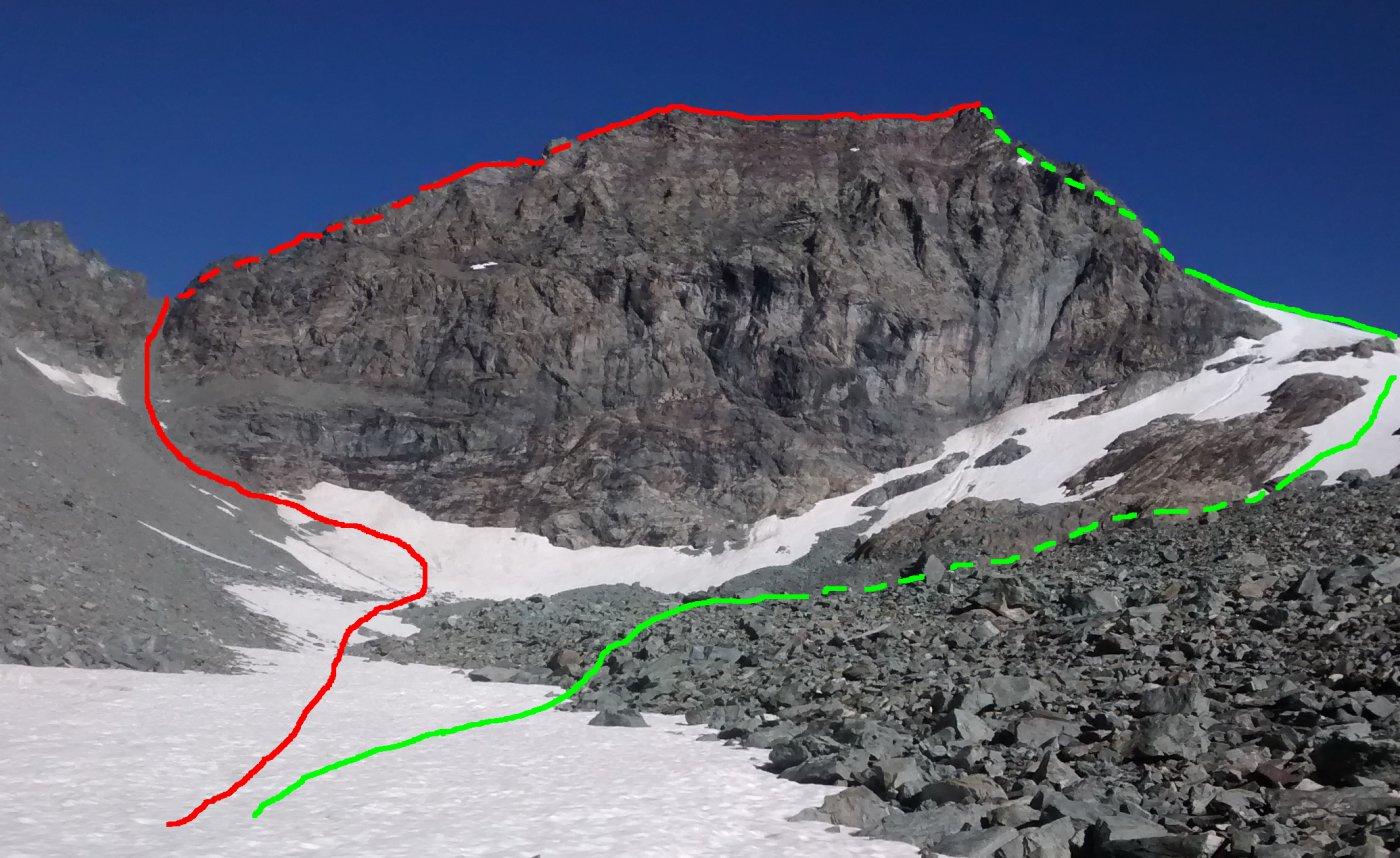 La parte alta dell'itinerario (in rosso la salita)
