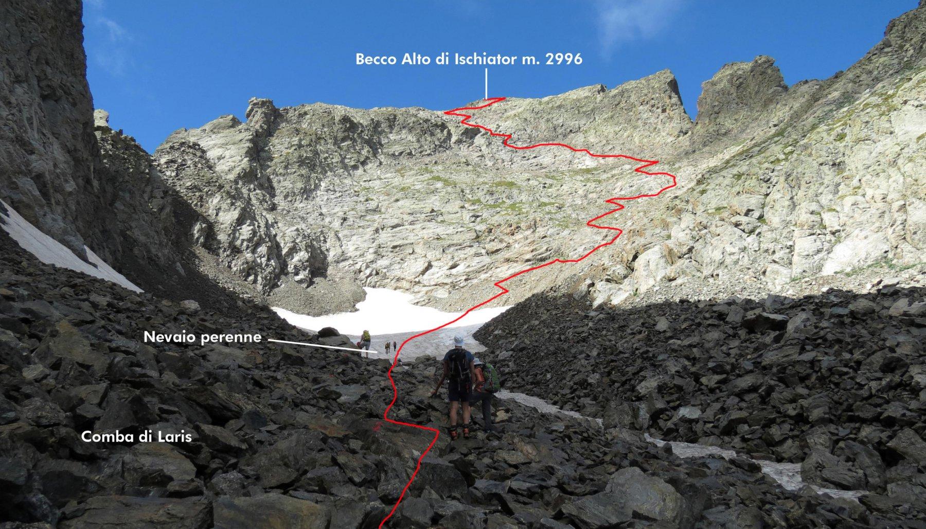 parte alta dell'itinerario di salita osservato dalla Comba di Laris (2-8-2015)