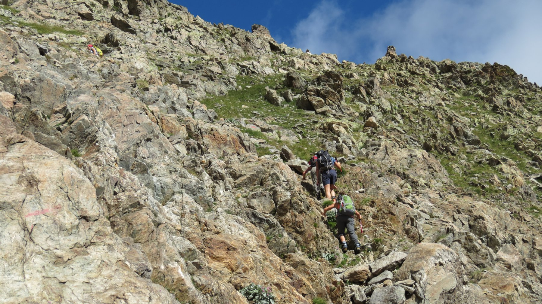 la prima parte del versante NE del Becco Alto di Ischiator (2-8-2015)