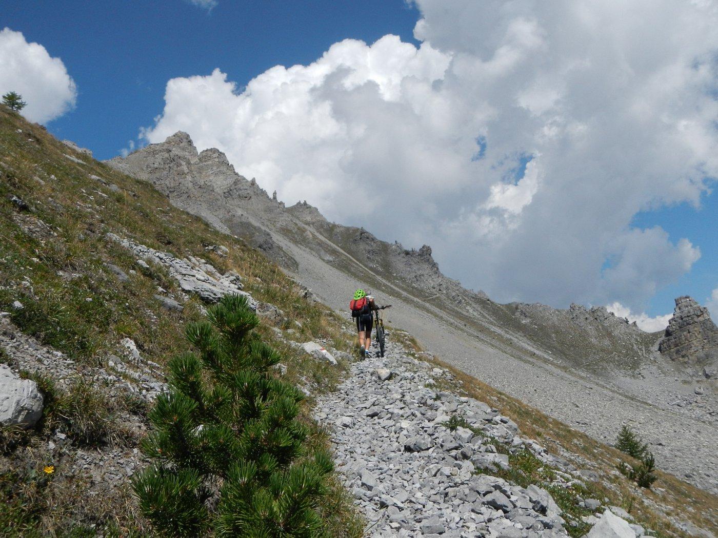il sentiero di salita alla cresta sud est