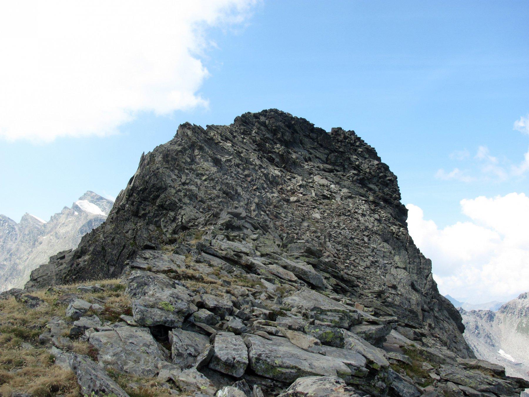 dopo il colletto: il limitato e facile tratto di cresta da percorrere verso O