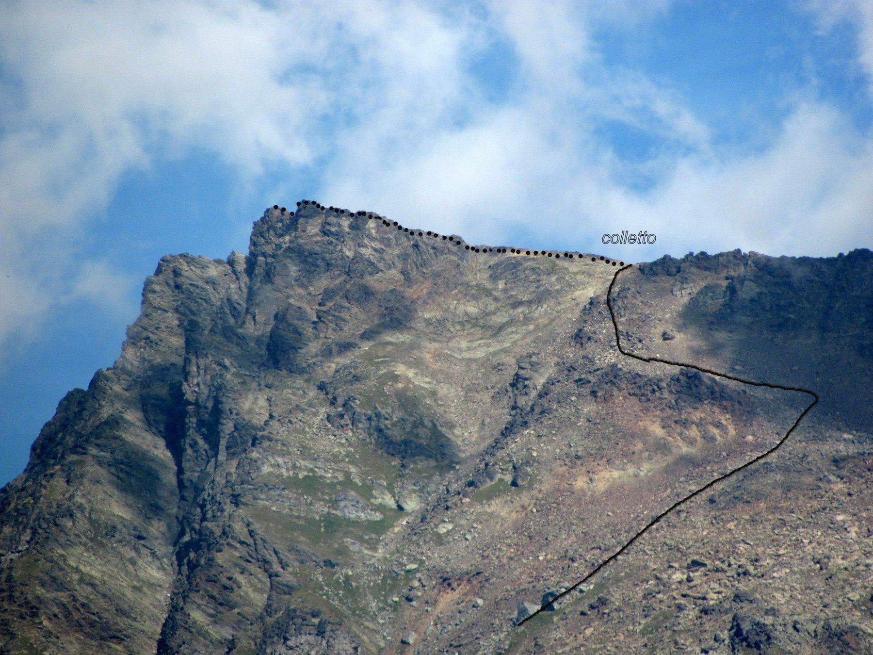 Becca Taillà: Indicazione di massima del percorso di salita da sud (cresta dal lato nord)