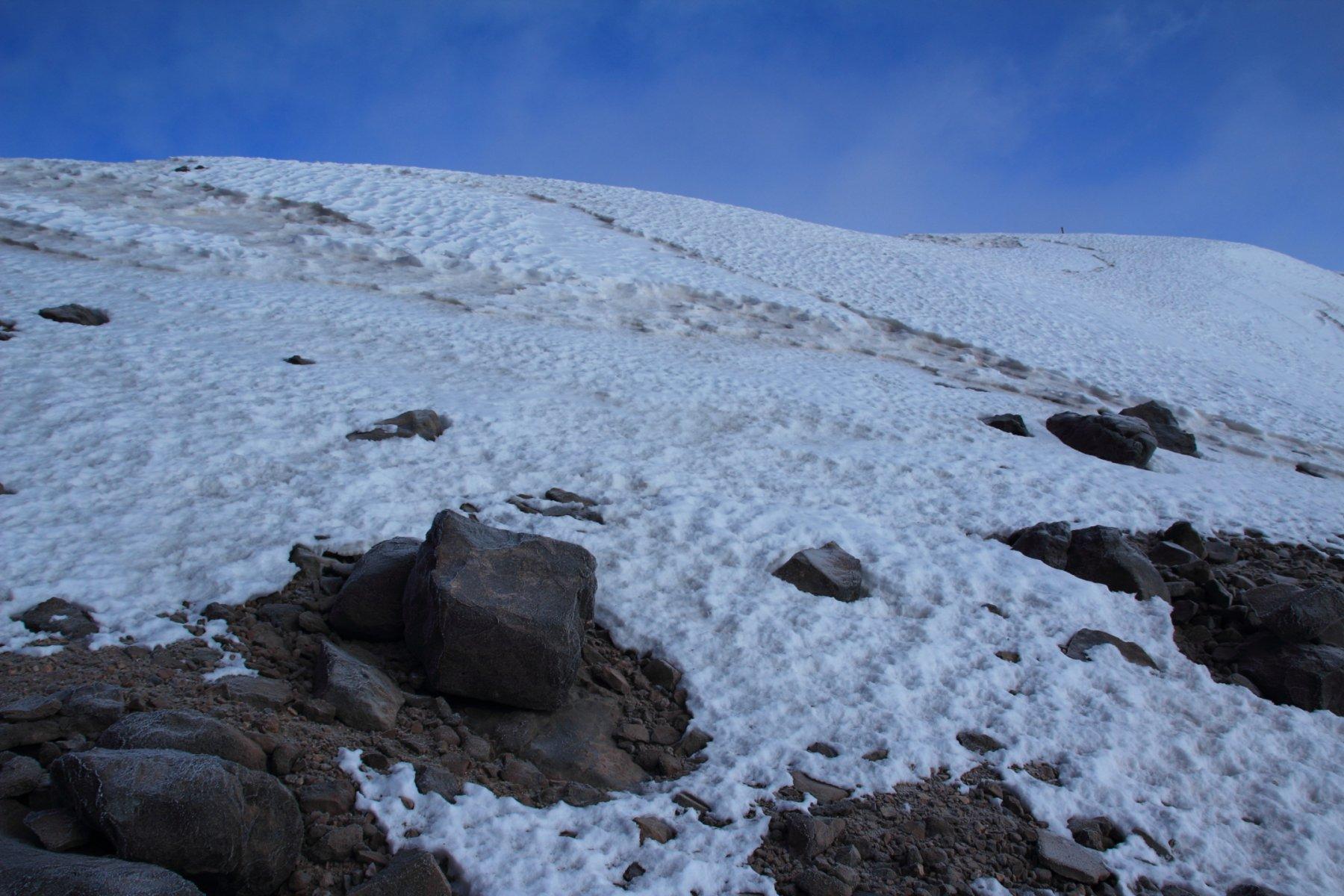 il piccolo ghiacciaio sommitale da risalire