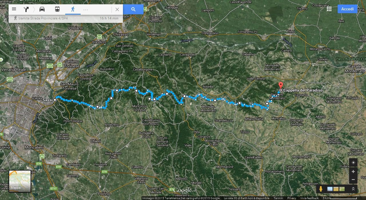 Il percorso da Sassi alla Cappella Paradiso del Sacro Monte di Crea