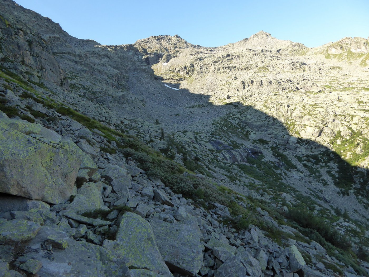 Conca del Rio della Balma,in alto a sx Piccolo Morion  e Corno Bianco