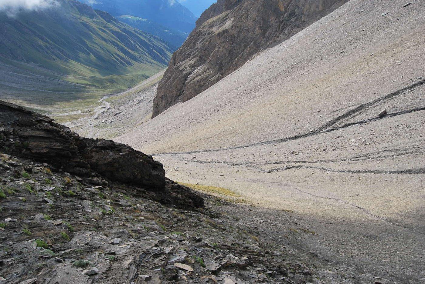 La salita vista dal colle; in fondo al vallone il dosso erboso con l'Alpe Gran Plan