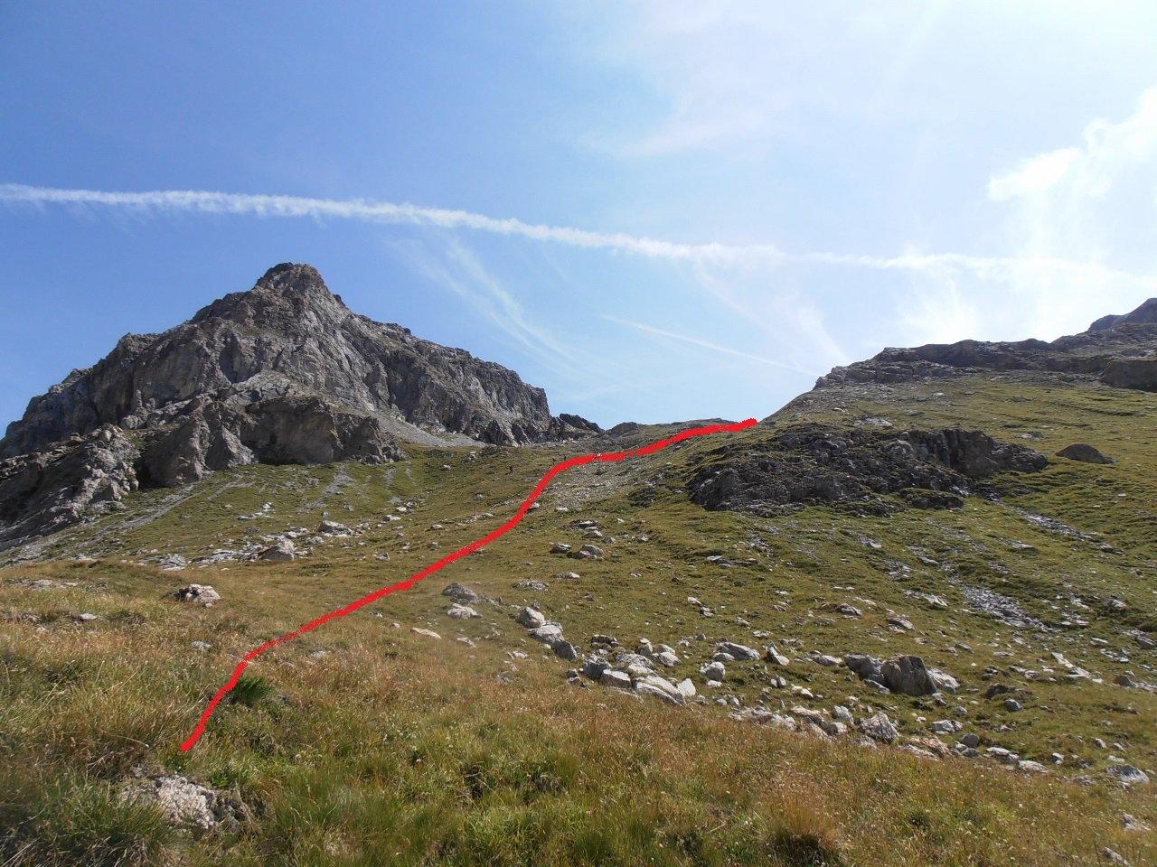 05 - direzione da seguire quando si abbandona il sentiero a 2350