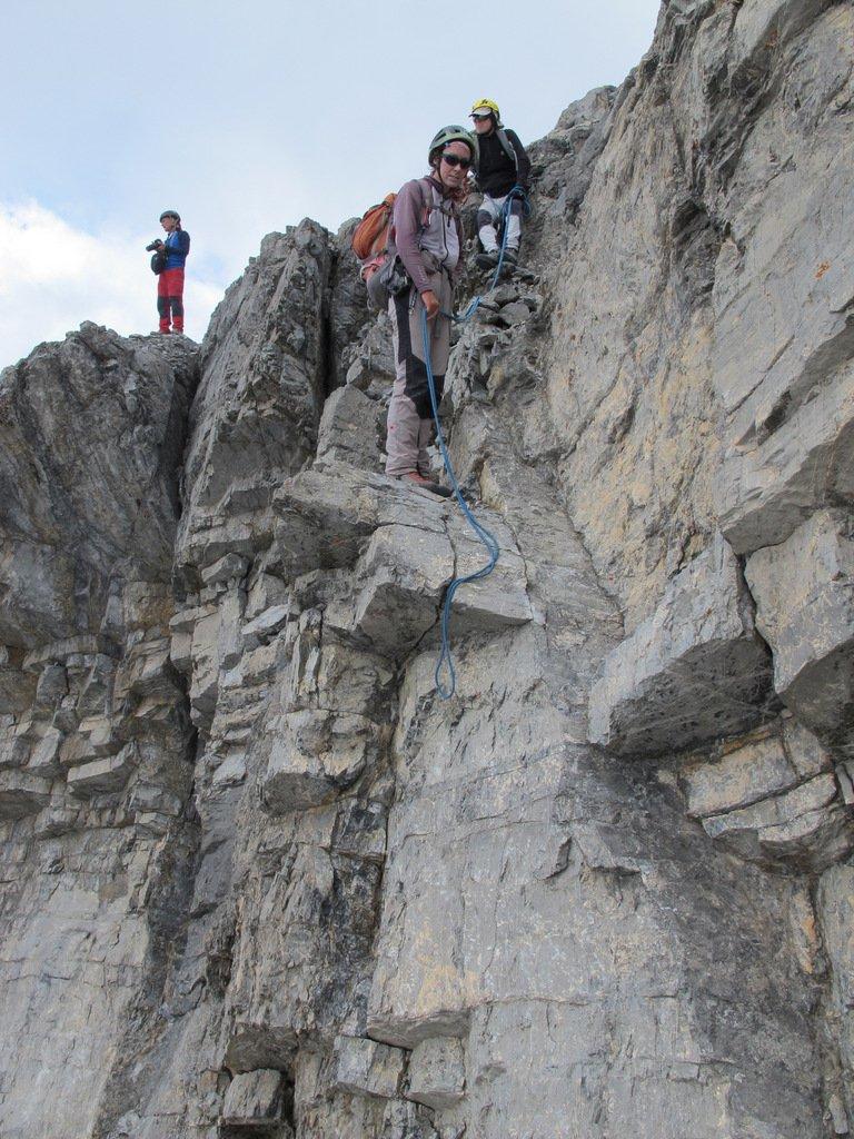 Parte alpinistica: il primo ostacolo roccioso da superare