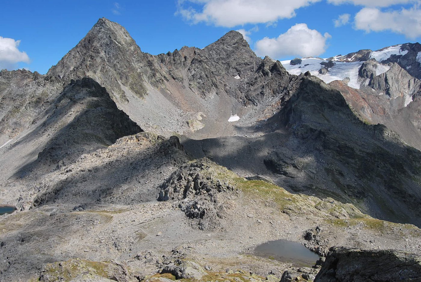 Dalla quota 2730 ca sopra il colle: Gd. Assaly, Punta Loydon, Ghiacciaio d'Invernet con la Becca du Lac