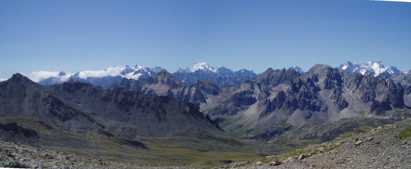 Versante Val Clarèe con i Cerces ed i ghiacciai del Delfinato