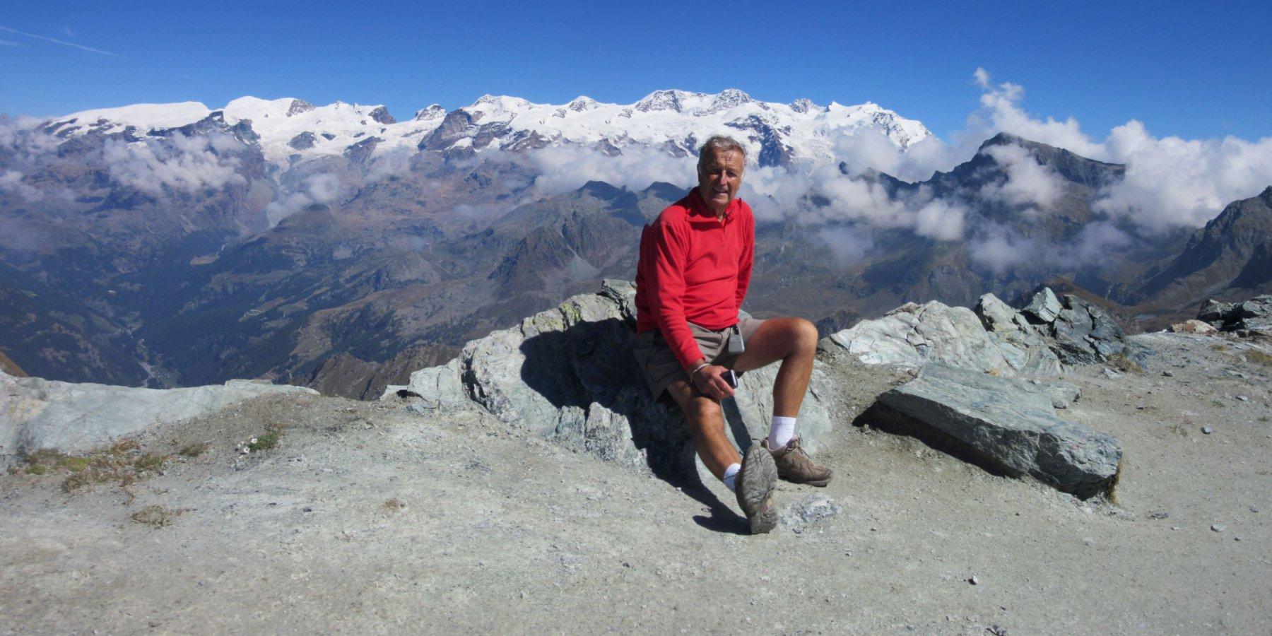 Giorgio Sul Corno Bussola davanti al Monte Rosa