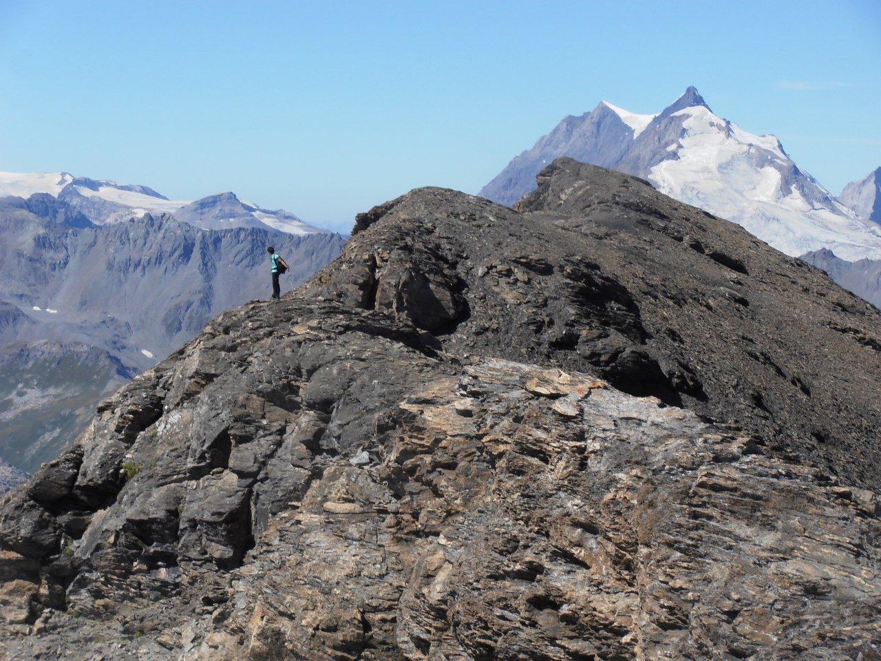 01 - sulla cresta tra cima est e cima principale, sullo sfondo la Grande Casse-Grande Motte