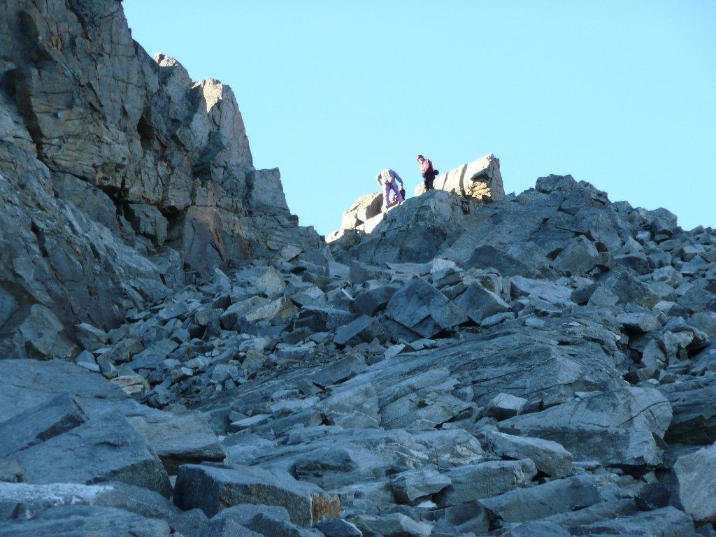 Al colle della Lavinetta, attacco della Cresta Bardoney, ammirato l'ambiente ... e rapido dietrofront !