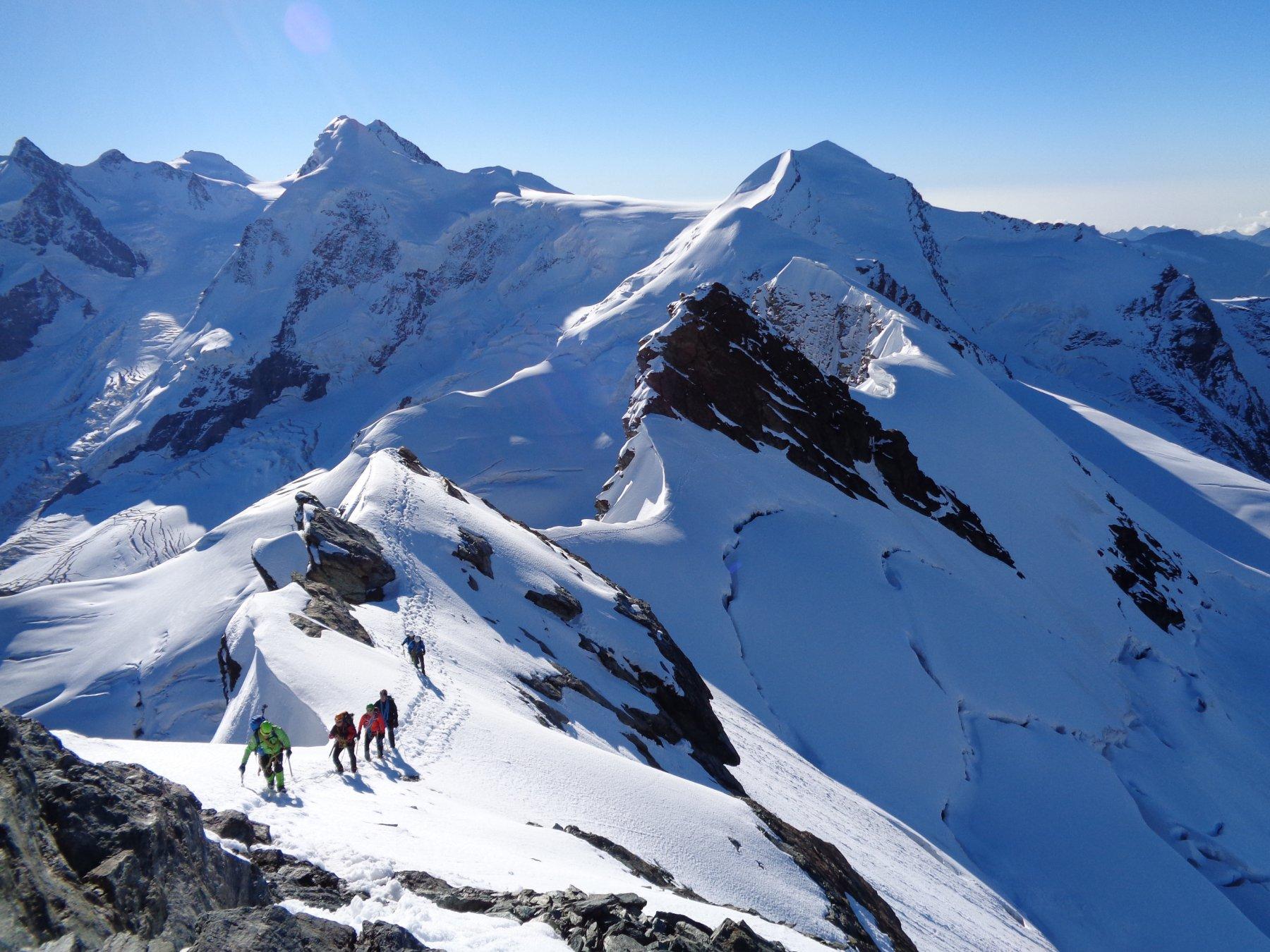 Roccia Nera, Gemello e Breithorn Orientale da Plateau Rosa 2015-08-29