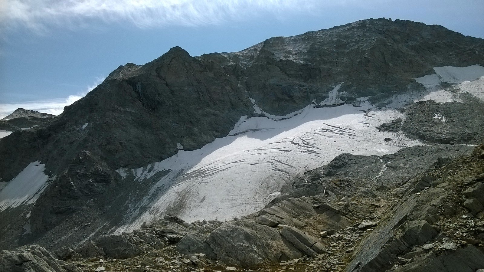Sommeiller e resti dell'omonimo ghiacciaio