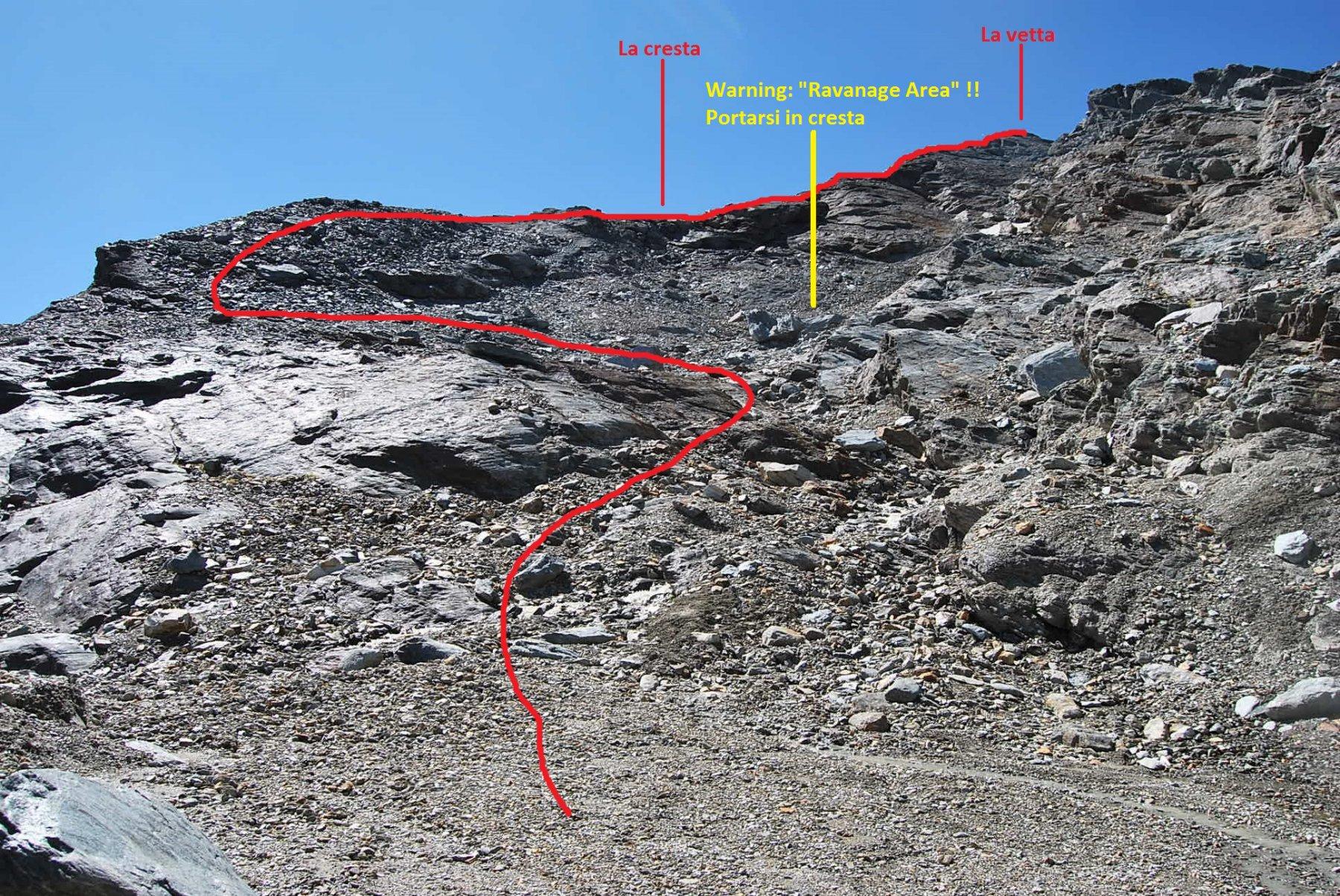 L'arrivo al pendio sotto la cima, dove occorre portarsi sulla cresta per arrivare in vetta.