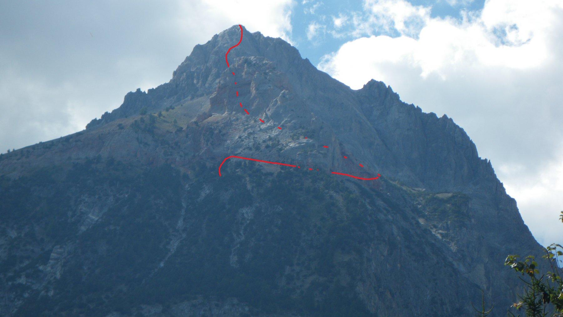 Foto scattata dalla strada della Valle Stretta con grosso modo il percorso...