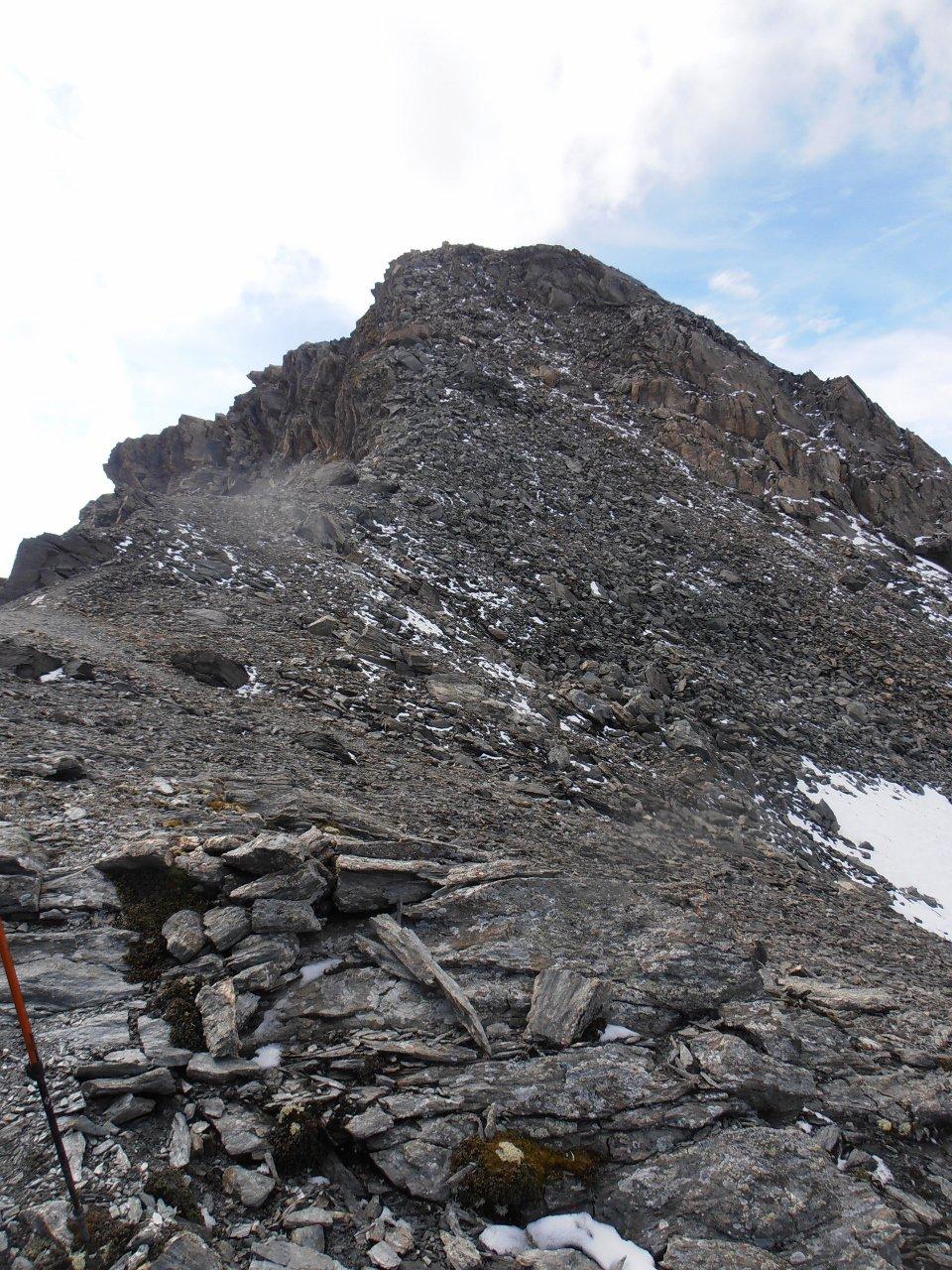 13 - nella discesa dal Pelaou Blanc verso il colde l'Arselle iniziano le roccette sporche di neve
