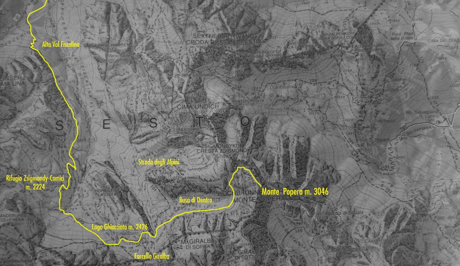 stralcio di mappa Tabacco e itinerario di salita al Popera