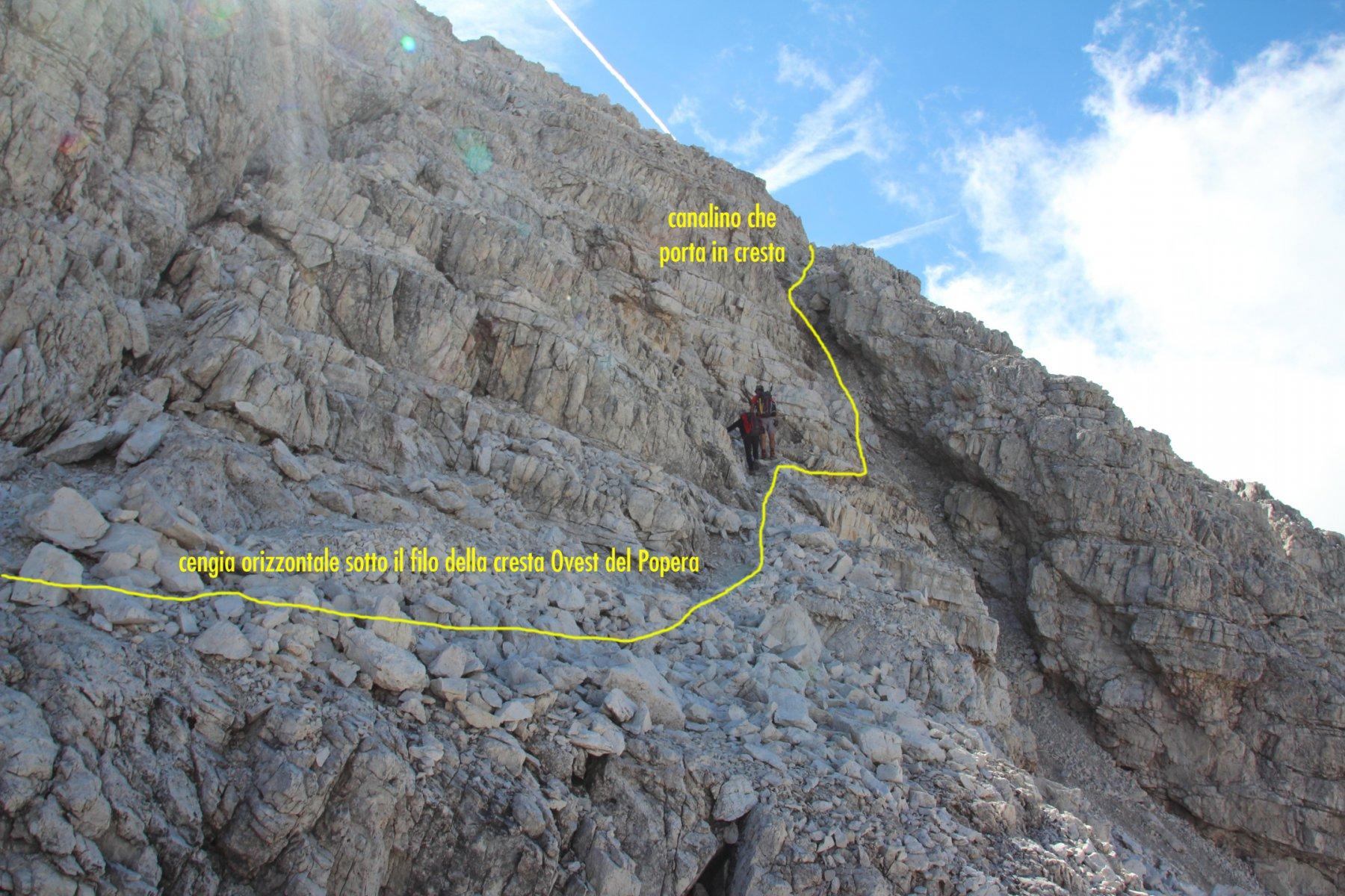 tratto finale per raggiungere il filo della cresta Ovest del Popera (19-9-2015)