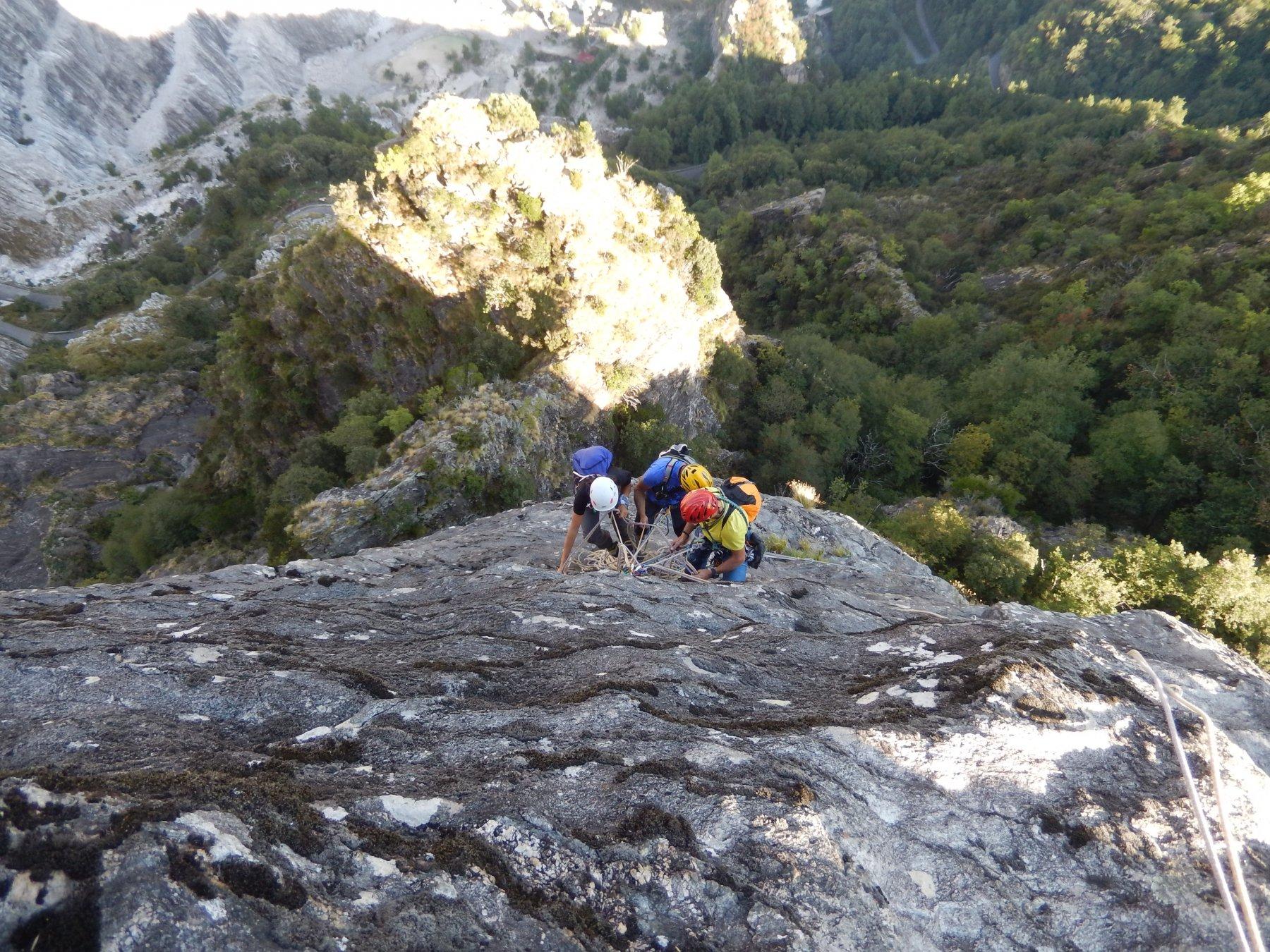 La seconda parte della via su roccia fantastica...