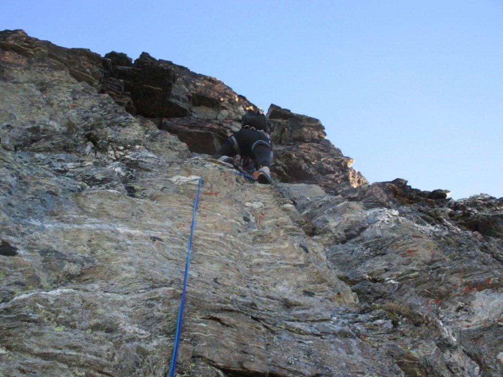paretina iniziale..primo passaggio alpinistico