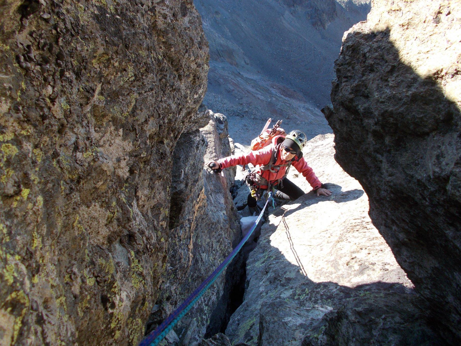 bell'arrampicata in camino..sulla cresta sud.ovest al M.Rdessau..