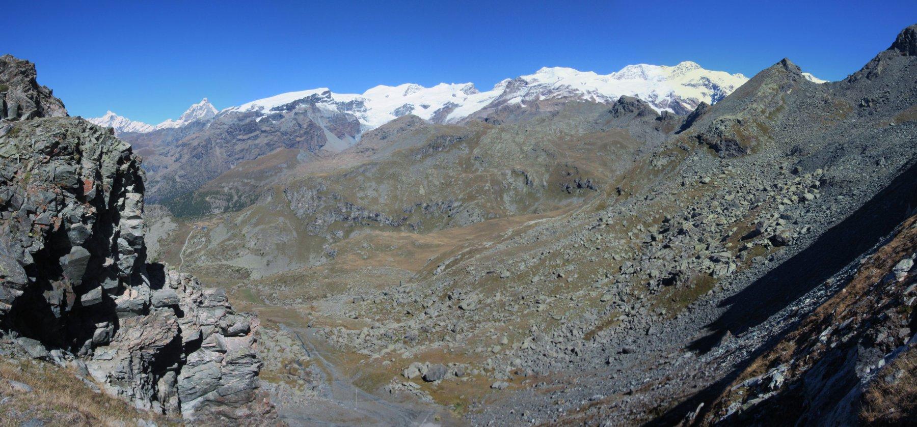 Panorama dal Colle verso il Rosa e Cervino
