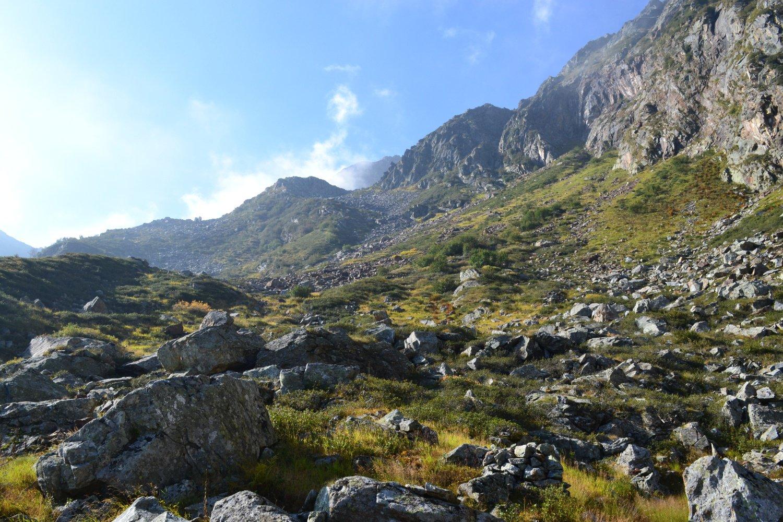i ripidi pendii che dall'Alpe Costiole conducono sotto la cima