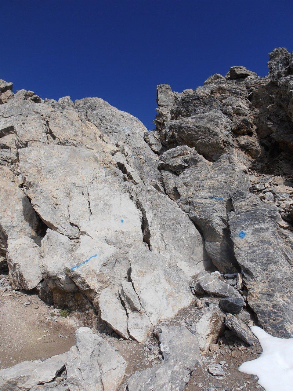 11 - passaggio su roccia che porta in cresta, 1 grado