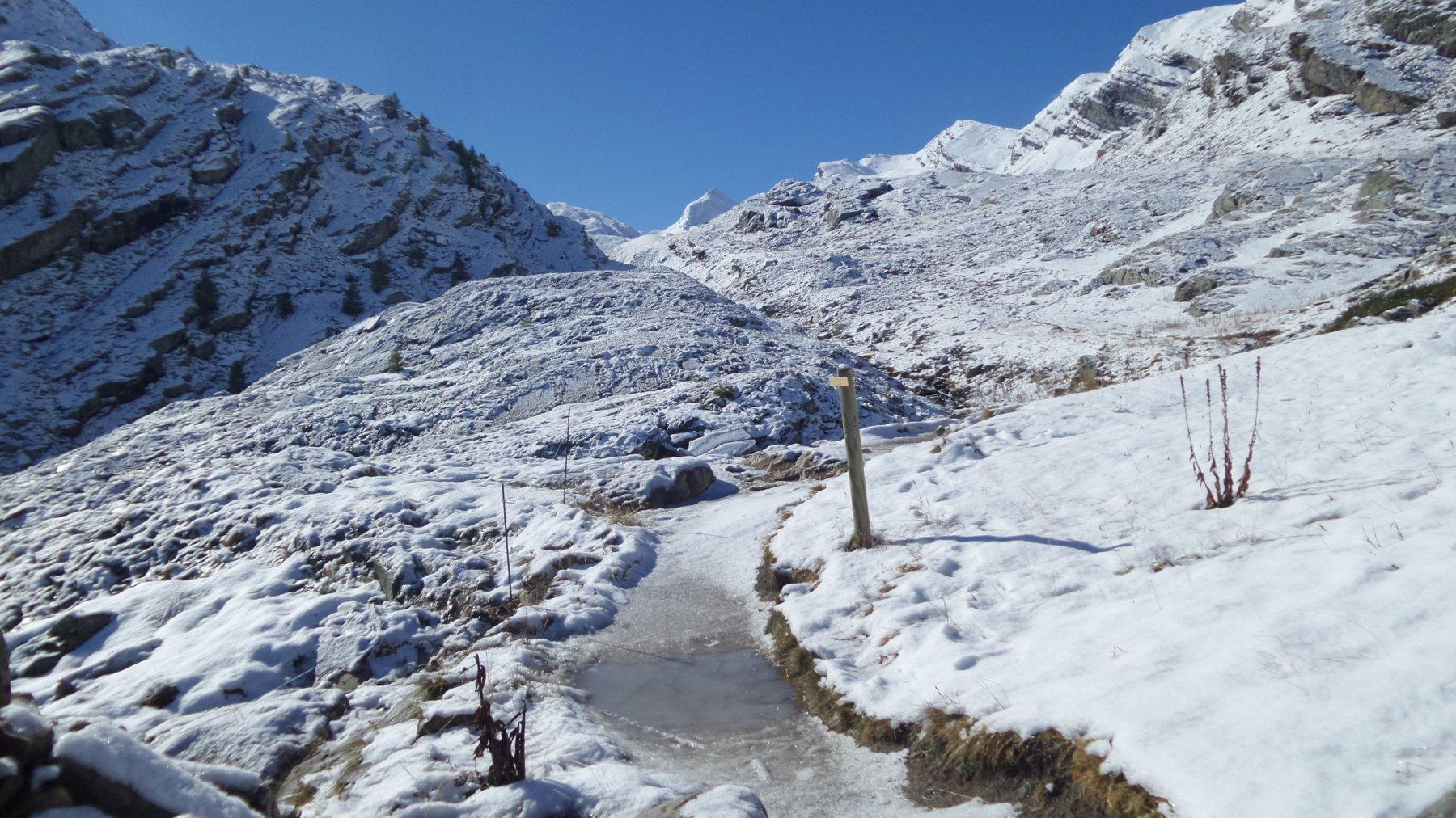 la prima neve in Val Fourane a quota 2180 m (4-10-2015)