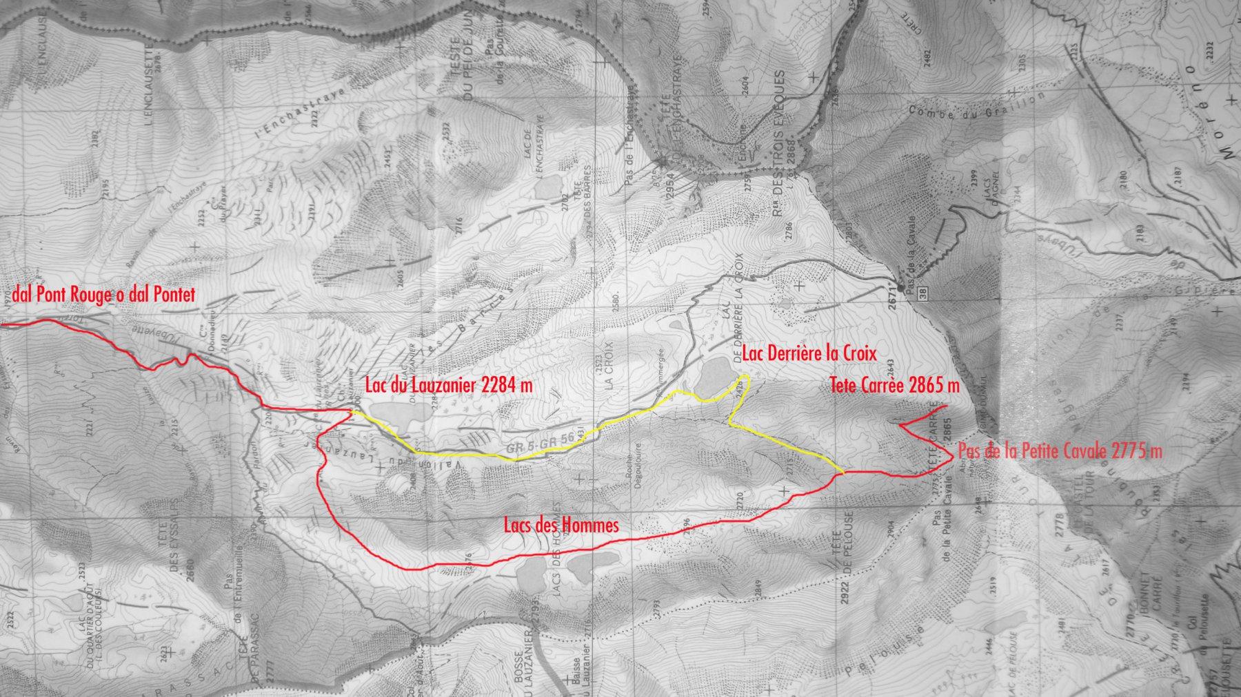mappa IGN e via di salita per la cima