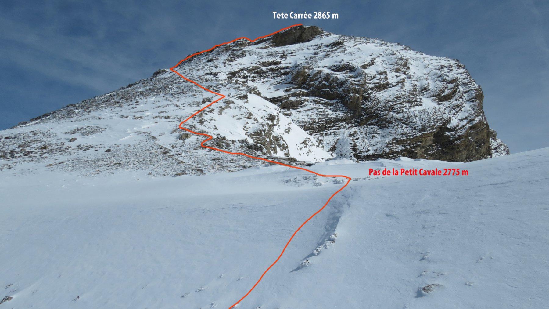 la parte alta del percorso visto dal Col de la Petite Cavale (4-10-2015)