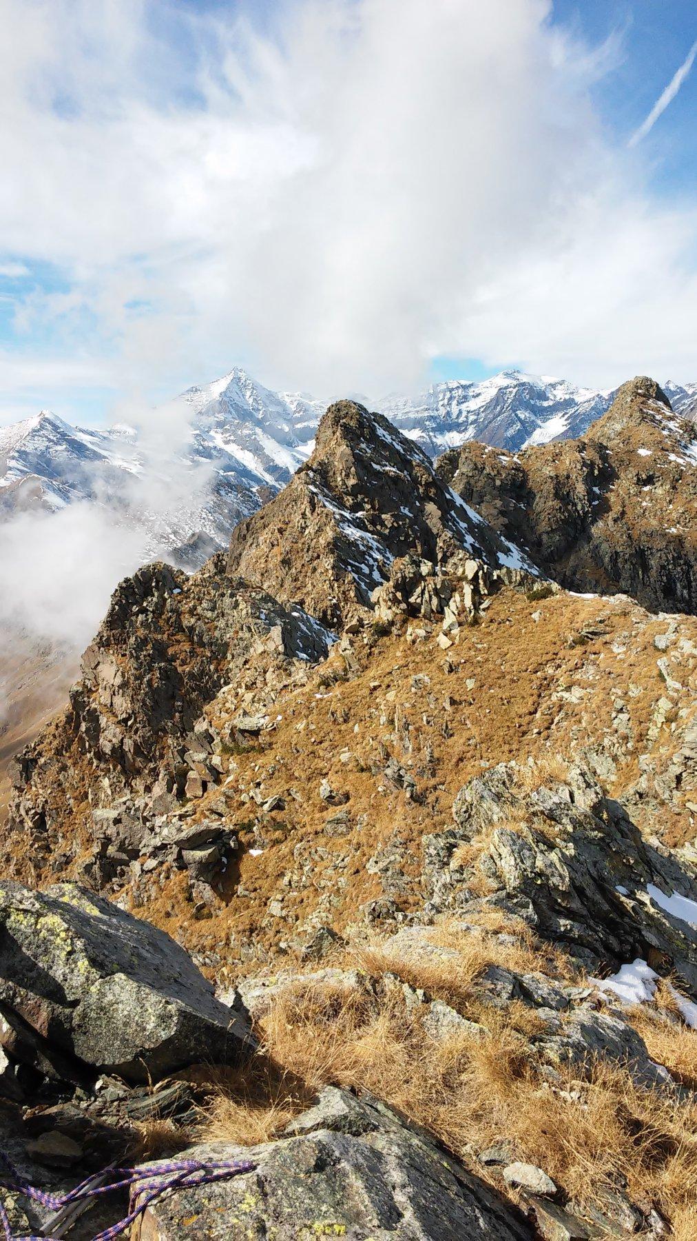 Panorma dalla vetta: in primo piano Cruvin Ovest mt.2712 e Rocca del Forno mt.2722